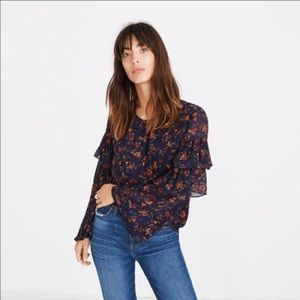 Madewell floral ruffle sleeve top size Small
